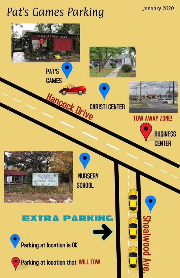 correct parking for Pat's Games